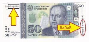 Tajikistan 50 Somoni 2018 BEAUTIFUL NUMBER 8288828 RaDaR UNC