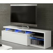Zenia Living Room Furniture Tv Dvd Stand Media Unit Blue Multi Led Lights White