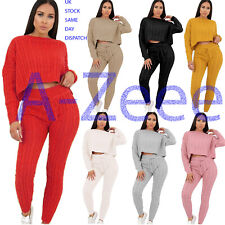 Ladies Cable Ribbed Knitted Baggy Casual 2 Pcs Loungewear Set Women Tracksuits