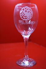 Laser Engraved Wine Glass Game Of Thrones Targaryen 3 Dragons Fire And Blood