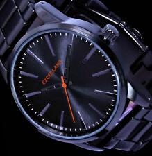 Excellanc Herren Armband Uhr Anthrazit-Schwarz dunkles Orange Edelstahl Armband