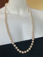 Vintage Signed Monet Faux Pearls Single Strand Long Flappers Necklace 30""