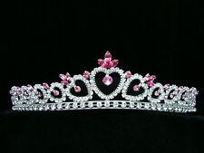 Bridal Pink Rhinestones Crystal Heart Prom Wedding Crown Tiara 6347