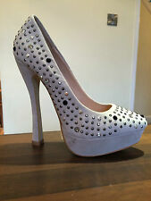NEXT Pale Grey Diamante Studded Sparkle Suede High Heels Court Shoes Size 5