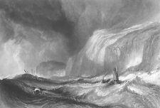 SAIL BOAT SHIP WRECK in Storm HASTINGS CLIFFS ~ 1866 Marine Art Print Engraving