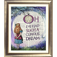 ART PRINT ORIGINAL DICTIONARY BOOK PAGE Alice in Wonderland QUOTE Picture Old