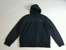 NWT POLO RALPH LAUREN FULL ZIPPED QUILTED FLEECE HOODIE JACKET BLACK XL RARE!!!