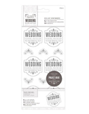 "Wedding - 4 x 8"" Die-Cut Sentiments - 204pcs - Silver/White - Evening Invitation"