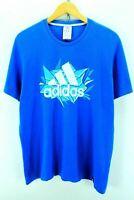 Adidas Men's Crew Neck Tshirt Size L Blue Short Sleeve Cotton Tee EF2485