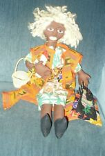 "23""  GORGEOUS ETHNIC AFRICAN BLACK HAND MADE CLOTH ART DOLL, BED DOLL"