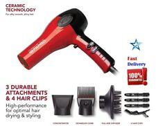 Hair Blow Dryer With Comb Attachment Professional Ceramic No Frizz Ion Red 1875W