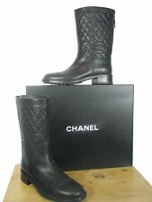 NIB CHANEL Black Quilted CC Logo Mid-Calf High Boots sz 40.5