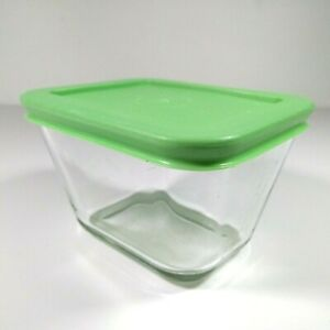 Martha Stewart Everyday MSE Clear Glass Cube Storage Container 1 7/8 C Green Lid