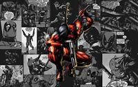 Marvel Deadpool - Black And White Comics Colour Art Poster / Canvas Pictures