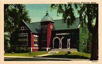 Vintage Postcard - Public Library Brick Building Waterville Linen Maine ME #3058
