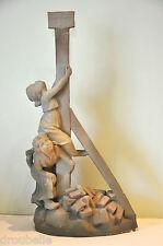 Statue terre cuite de Charenton signée Luighi Salesio Céramique Art-Nouveau