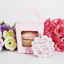 30x Single Cupcake Boxes (PINK) - Baby Shower Favour Box Wedding Bomboniere