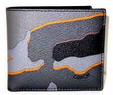 COACH 'Camouflage' Men's Printed Canvas Double Billfold Camo Wallet Grey **NWT**