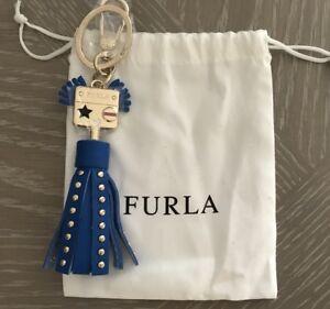 Furla Valentina Keyring Leather Bag charm Gold tone