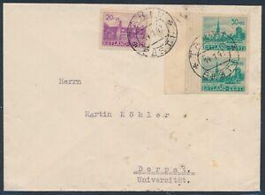 Besetzung Estland Wiederaufbau ungezähnt MiF Brief Tartu 1942 Dorpat (4515)