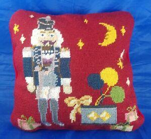 "Vintage Square 10"" Needlepoint Christmas Nutcracker Presents Detailed"