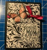 Mother's Day Card Black Flourishes Hot Pink Ribbon And Butterfly Handmade