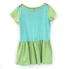 Size 6-7 (120) - HANNA ANDERSSON Girls Green Striped Cotton Casual Dress