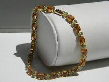 "14K Yellow Gold Genuine Citrine And Peridot Tennis Bracelet 8"""