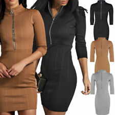 3/4 Sleeve Stretch Casual Dresses for Women