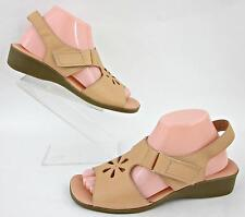 Dr. Scholl's Slingback Sandals Floral Cutout Leather Peach 8.5M Worn Twice!