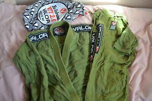 Valor Bravura Complete BJJ GI A3 - Green with bag, Good condition - UK FASTSHIP