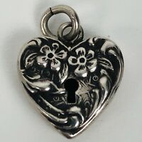 Walter Lampl Vintage 1940s Sterling Silver Small Puffy Heart Bracelet Charm Lock
