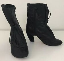 Irregular Choice Women's Black Boots Size 7.5 Witch Round Toe Heel Lace Up HTF