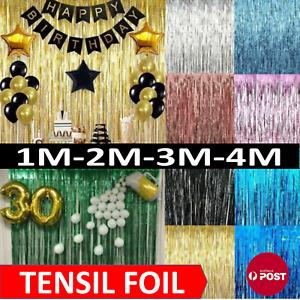 Metallic Tinsel Curtain Foil 1m 2m 3m 4m  Backdrop Function Party Decoration