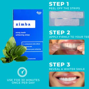 Zimba Minty Premium Teeth Whitening Strips, Authorised Seller,28 strips,14 days
