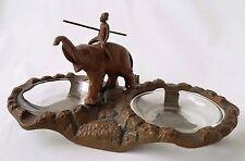 Antique Art Deco Metal Painted Double Ashtray w/Man Riding Elephant, Nuart Style