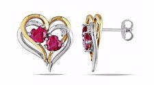 Herz Ohrstecker 925 Silber teils Gold Vergoldet Rubin Zirkon Damen Ohrringe 10mm
