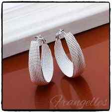 925 Sterling Silver Large Textured Mesh U Shaped Hoop Snap Closure Earrings Gift