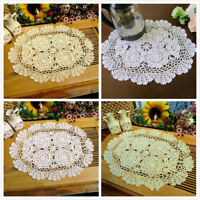 Cotton Placemat Doily Handmade Crochet Lace Doilies Table Oval Mat Party Cover