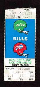 1986  NEW YORK JETS  vs BUFFALO BILLS  Ticket Stub