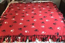 Custom Made Red/Black/White Paw Print Fleece Blanket
