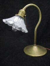 """Antq Arts & Crafts Small Brass 9"""" Table Desk Lamp 4"""" Holophane Shade Hubbell PCS"""