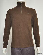 Nwt $98 Ralph Lauren POLO Cotton Zip Neck Sweater Pullover Top Brown S