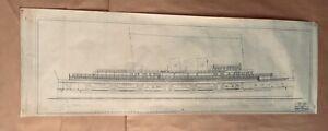 "Maritime Drawing ""Lambie & Mabry, Passenger Vessel, 1929"" Vellum Ink 52x18"