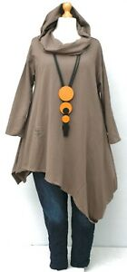 """PLUS SIZE CAPPUCCINO JERSEY COTTON IRREGULAR HOODED A-LINE TUNIC BUST UP TO 52"""""""