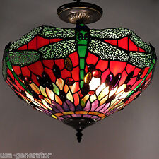 Green Dragonfly Ceiling Lamp Tiffany Style Light Fixture Red Lighting 2 Lights