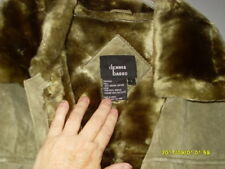 DENNIS BASSO Olive Green SUEDE LEATHER JACKET COAT Fully lined Large Very Good