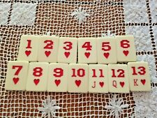 RUMMY GAME PIECE REPLACEMENT TILES PART Tiles Set Numbers 1-13 RED HEART SET