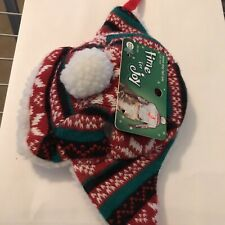 New! Time for Joy Christmas Snow Day Fair Isle Cat Hat One Size