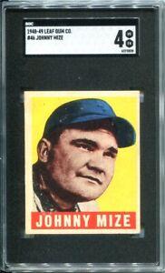 1948 Leaf Johnny Mize #46 HOF New York Yankees - SGC 4 / VGEX